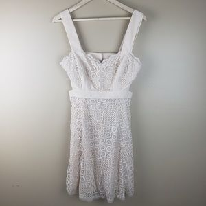 NWT BCBGmaxazria Cream/Silver Alena Dress, size 8
